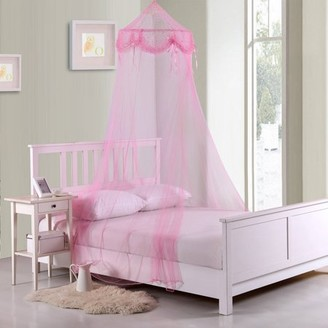 Generic Kids Buttons and Bows Collapsible Hoop Sheer Mosquito Net Bed Canopy