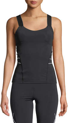CUSHNIE Fitted Scoop-Neck Active Tank with Cording
