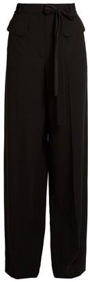 Valentino Tie Waist Wide Leg Silk Crepe De Chine Trousers - Womens - Black