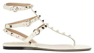 Valentino Rockstud Gladiator Leather Sandals - Womens - White