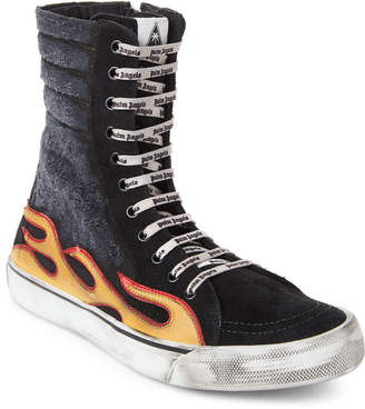 Palm Angels Black Flame Distressed High-Top Sneakers