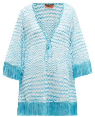 Missoni Mare - Zigzag Knit Fringed Kaftan - Womens - Blue