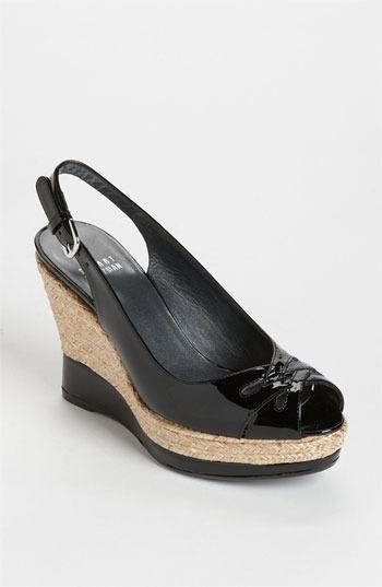 Stuart Weitzman 'Dolunch' Wedge Sandal Black Patent 5.5 M