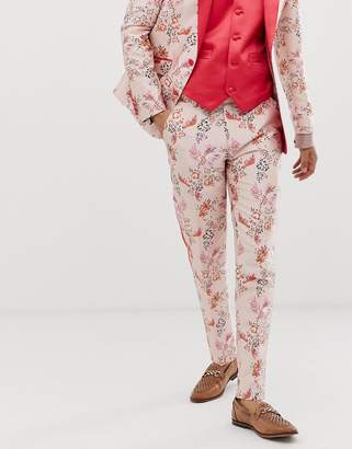 Asos Edition EDITION skinny suit pants in pink floral jacquard with side stripe
