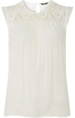 Dorothy Perkins Womens **Only White Lace Yoke Top
