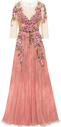 Marchesa Embroidered Tulle Gown - Pink