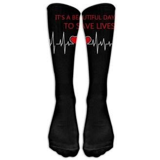 weiyijianada Unisex Grey's Anatomy It's A Beautiful Day to Save Lives Crew Fashion Novelty Socks