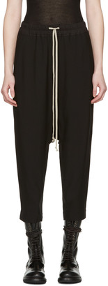 Rick Owens Black Drawstring Cropped Lounge Pants $605 thestylecure.com
