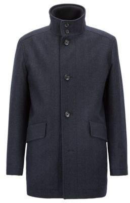 BOSS Hugo Relaxed-fit car coat in a herringbone wool 36R Dark Blue