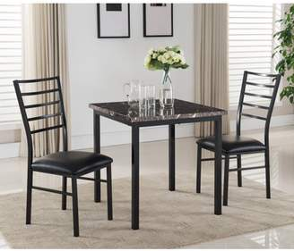 "Pilaster Designs Maxen 3 Piece Black Metal & Faux Marble Top 30"" Square Contemporary Kitchen Dinette Dining Table & 2 Side Chairs Set"