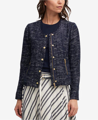 DKNY Collarless Tweed Jacket