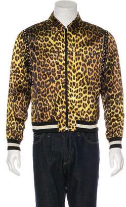 Saint Laurent 2016 Stud-Embellished Leopard Print Jacket