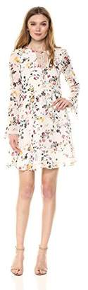 Sam Edelman Women's Floral Printed Double v Neck a line Dress with Bell Sleeve