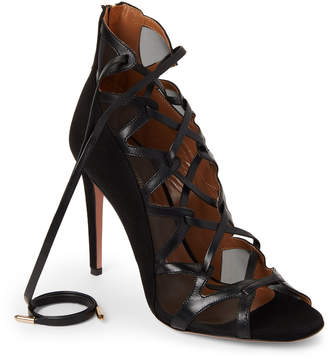 Aquazzura Black French Lover Leather Lace-Up Sandals
