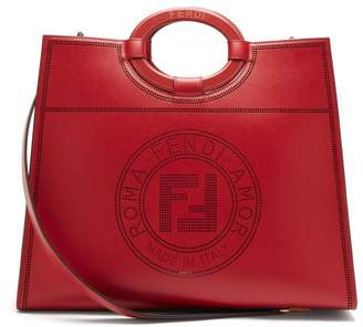 Fendi Runaway Medium Perforated Logo Leather Tote - Womens - Red Multi