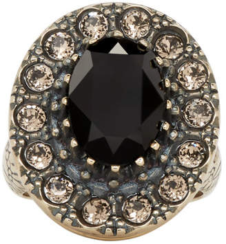 Alexander McQueen Gold and Black Jewelled Ring