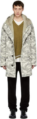 Yves Salomon Grey Camo Cotton Parka