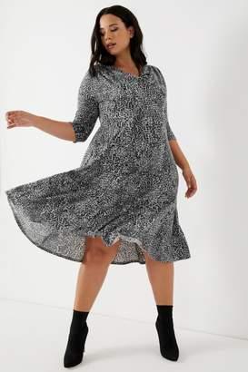 Scarlett & Jo Womens Animal Print Cowl Neck Dress - Grey