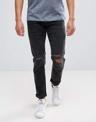 Jack and Jones Intelligence Jeans In Slim Fit With Rip Knee Detail