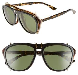 Gucci Pilot 56mm Flip-Up Sunglasses