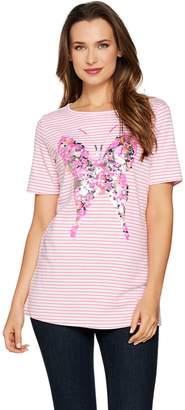 Factory Quacker Butterfly Sequin Striped Short Sleeve T-shirt