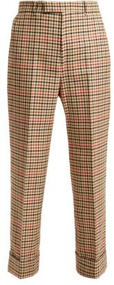 Gucci Houndstooth Wool Blend Trousers - Womens - Red Multi