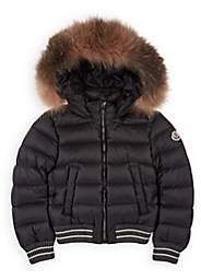 Moncler Kids' Arabel Fur-Trimmed Down Bomber Coat - Gray