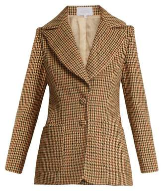 Luisa Beccaria Hound's Tooth Checked Single Breasted Wool Jacket - Womens - Brown Multi