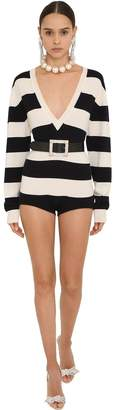 Striped Cashmere Knit Romper