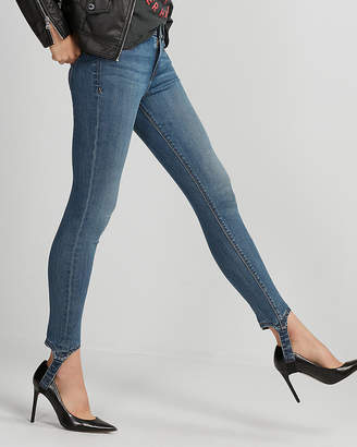 Express Mid Rise Heel Strap Stretch+ Performance Jean Leggings