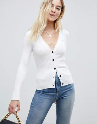 Asos Design Cardigan In Fine Knit Rib With Buttons