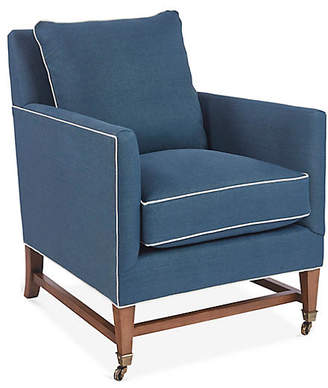 Brentwood Club Chair - Blue Linen - Mark D. Sikes