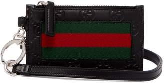 Gucci Web-striped leather cardholder