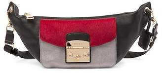 Furla Metropolis Amy Mini Leather & Genuine Calf Hair Mini Belt Bag