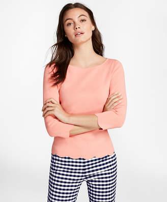 Brooks Brothers Scallop-Edged Micro-Rib Sweater
