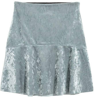 H&M Crushed-velvet Skirt - Gray