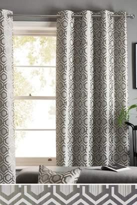 Next Geo Jacquard Eyelet Lined Curtains
