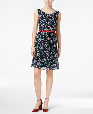 Connected Printed Belted Chiffon Dress $79 thestylecure.com