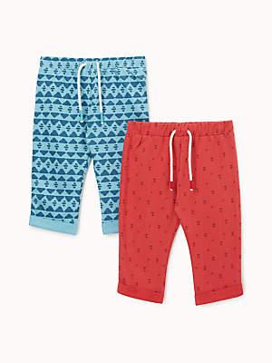 John Lewis & Partners Baby Pattern Printed Leggings, Pack of 2, Red/Blue