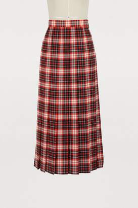 MSGM Pleated plaid skirt