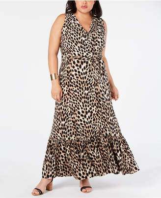 01b07a241157 INC International Concepts I.n.c. Plus Size Leopard-Print Faux-Wrap Maxi  Dress