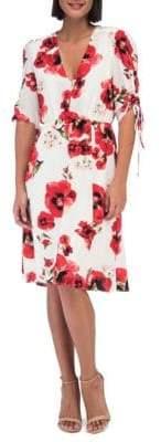 Bobeau Floral Ruched-Sleeve Dress