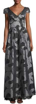 ML Monique Lhuillier Cap-Sleeve V-Neck Jacquard Evening Gown