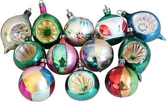 One Kings Lane Vintage Fancy Christmas Ornaments w/Box - Set of 12