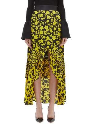 Alice + Olivia 'Sueann' daffodil print tiered ruffle high-low midi skirt