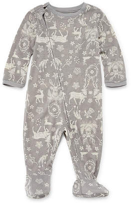 Co North Pole Trading Company Gray Reindeers 1 Piece Footed -Baby Unisex