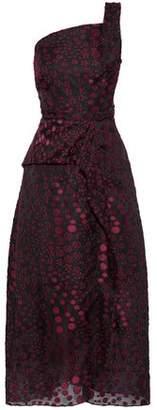 Roland Mouret Baldersby One-Shoulder Fil Coupé Chiffon Midi Dress