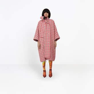Balenciaga Vichy wool kimono shaped coat