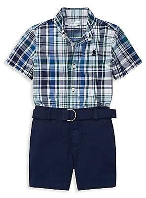 d2219a81c Ralph Lauren Baby Boy s Three-Piece Plaid Cotton Poplin Collared Shirt