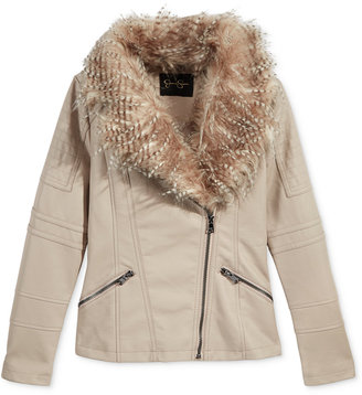 Jessica Simpson Girls' Faux-Leather Jacket with Faux-Fur Collar $100 thestylecure.com